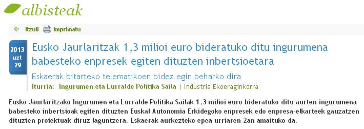 Eusko Jaurlaritzak 1,3 milioi euro bideratuko ditu ingurumena babesteko enpresek egiten dituzten inbertsioetara
