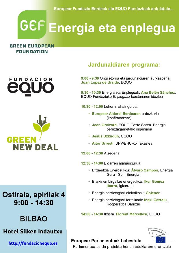 Energia eta Enplegu Jardunaldiak. Europear Fundazio Berdea-EQUO Fundazioa