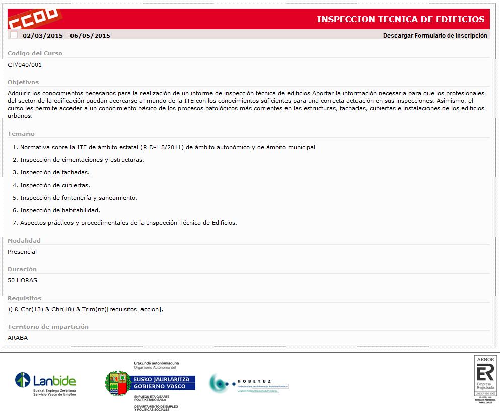 Curso ITE en Forem Euskadi
