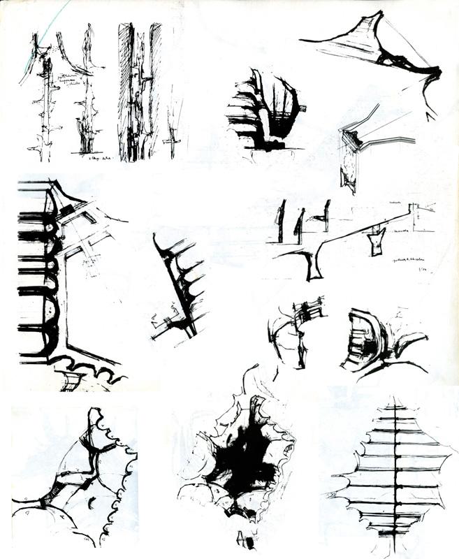 Arquitectura Finlandesa: Bocetos para la Iglesia Kaleva. Reima Pietilä (1959-1966).