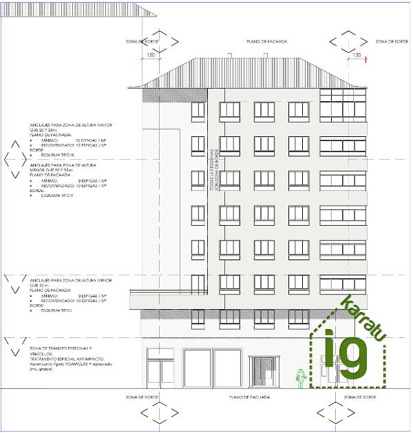 Anclajes del SATE según posición, edificio en Vitoria-Gasteiz