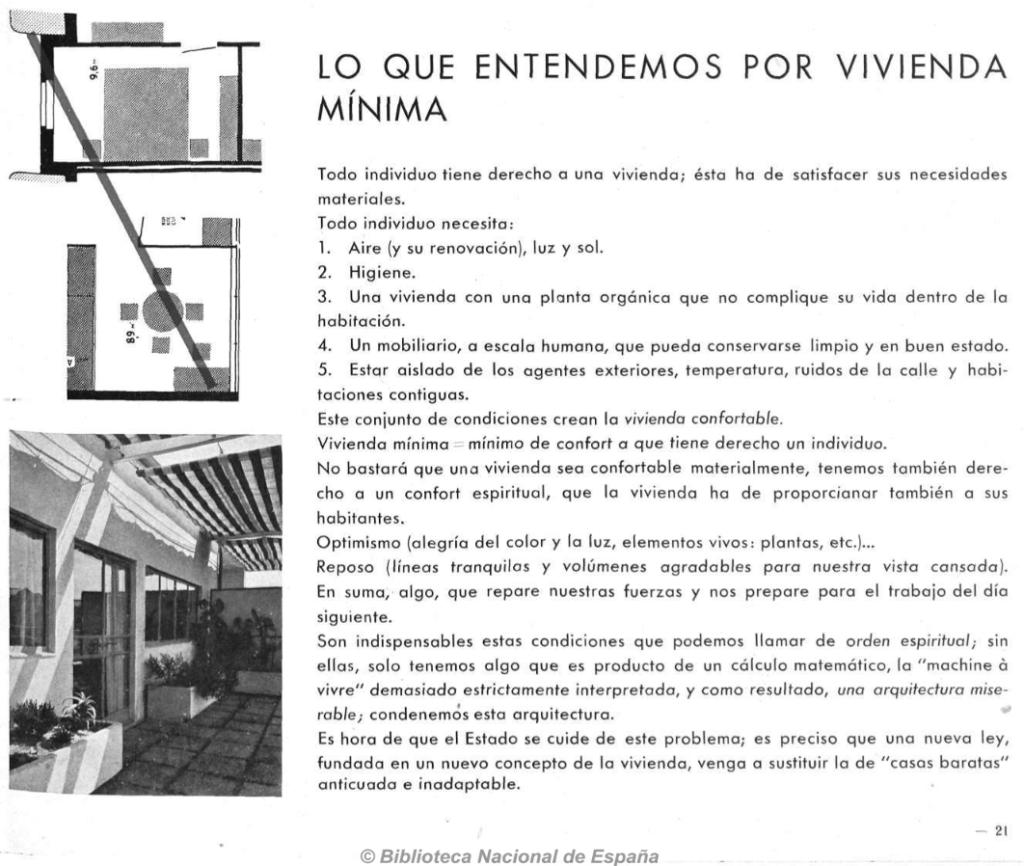 GATEPAC y vivienda minima; aplicable a una casa en cuarentena